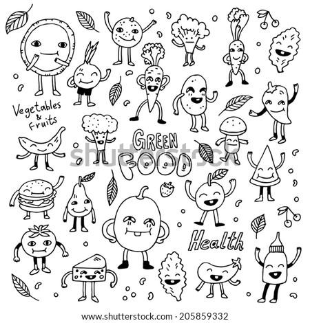 Healthy green vegetarian food doodle set. Vector illustration. - stock vector