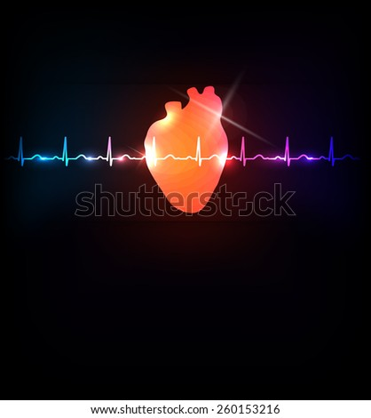 Healthy heart and life line bright illustration - stock vector