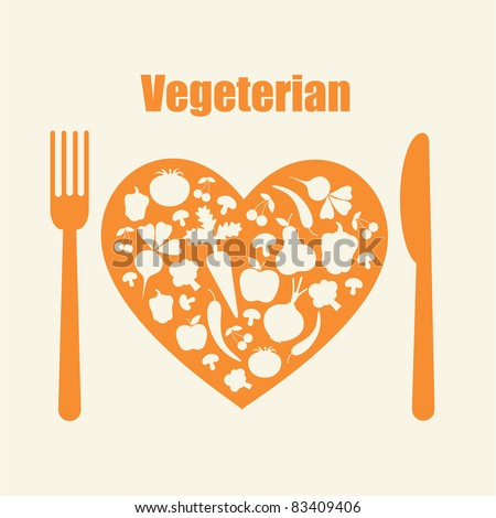 healthy life - heart shape with vegetables. vector illustration - stock vector