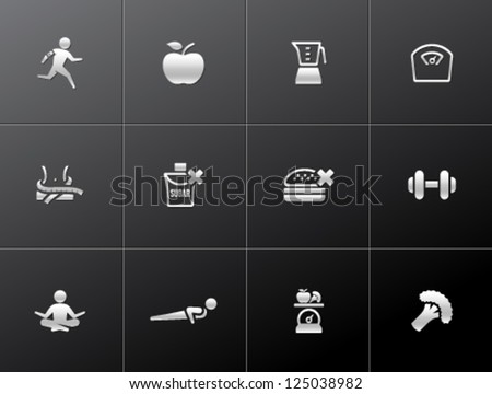 Healthy life icon in metallic style. - stock vector