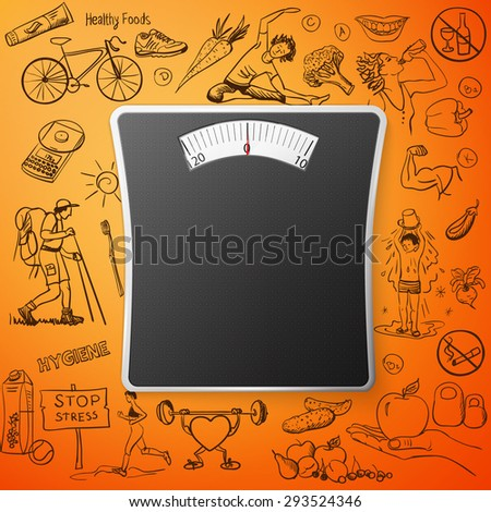 healthy lifestyle background with Bathroom Weight Scale, excellent vector illustration, EPS 10 - stock vector