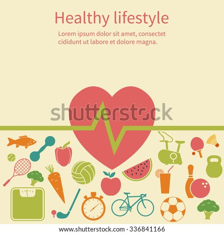 Healthy lifestyle concept. Icons sport and healthy food. Background, poster. Flat design. Vector illustration.