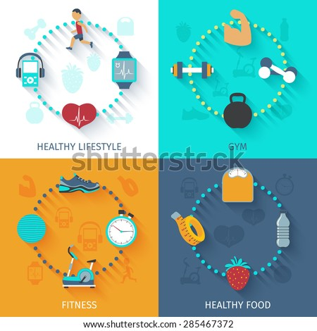 Healthy lifestyle fitness gym and food habits 4 flat icons composition square banner abstract isolated vector illustration