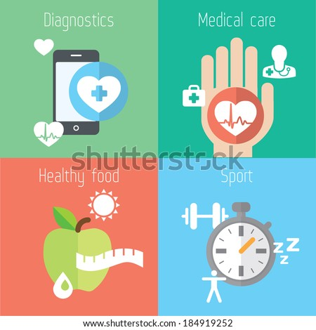 Healthy lifestyle flat stylish illustration set. Medicine, health care, food and sport theme. Modern colors. Vector illustration. Layered file - stock vector