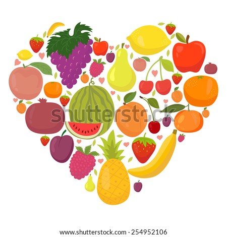 Healthy lifestyle fruit heart. Fresh fruits. Vector illustration