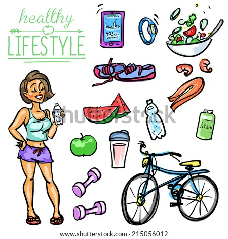 Healthy Lifestyle. Hand drawn cartoon collection - stock vector