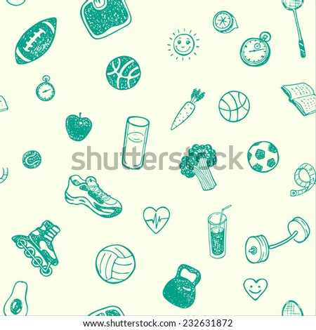 Healthy Lifestyle. Hand drawn seamless pattern. Healthy food, sport and fitness themes. - stock vector