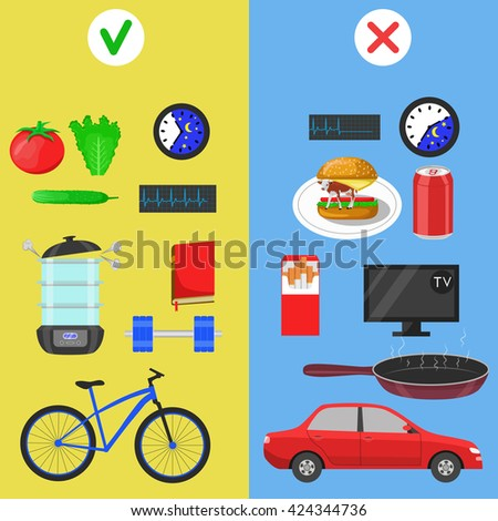 Healthy lifestyle icons. Food and hobby. Color flat vector illustration - stock vector