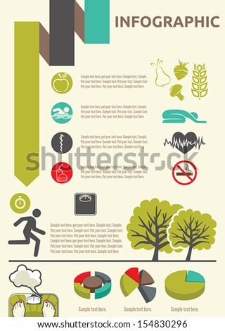 Healthy lifestyle infographic - stock vector