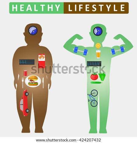 Healthy lifestyle infographics. Compare of fat and slim man silhouettes. Color vector illustration - stock vector