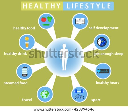 Healthy lifestyle infographics with food and sport icons. Color flat vector illustration - stock vector