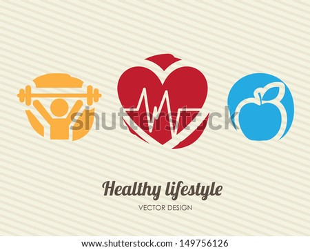 healthy lifestyle over lineal background vector illustration  - stock vector