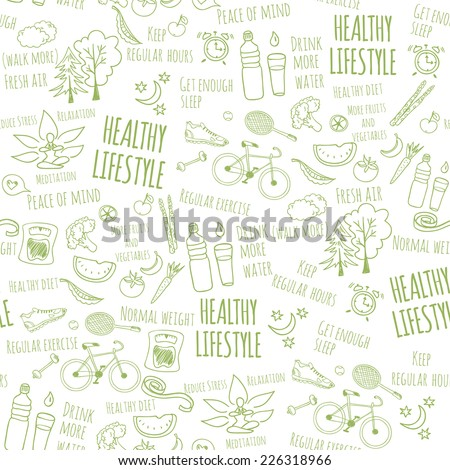 Healthy lifestyle seamless pattern on white background. Vector illustration  - stock vector