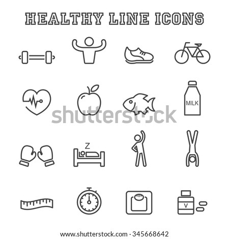 healthy line icons, mono vector symbols - stock vector