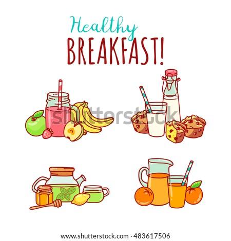 Colorful Vector Breakfast Yummy Healthy Food Stock Vector