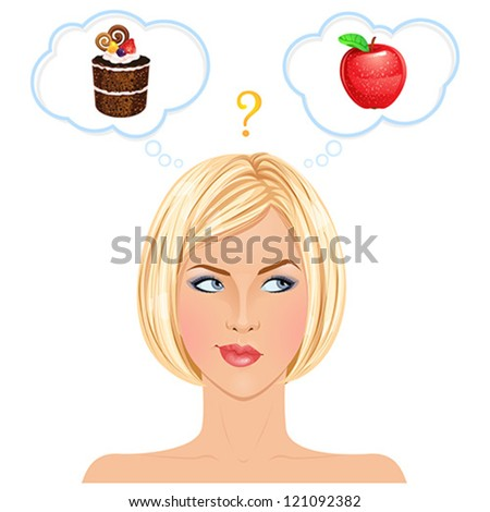 Healthy or junk food choice. Beautiful blonde woman thinking. Vector illustration. - stock vector