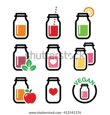 Healthy smoothie drink, juice in jar icons set  - stock vector