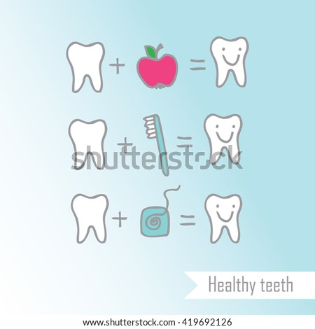Healthy teeth - design element Freehand drawing - stock vector