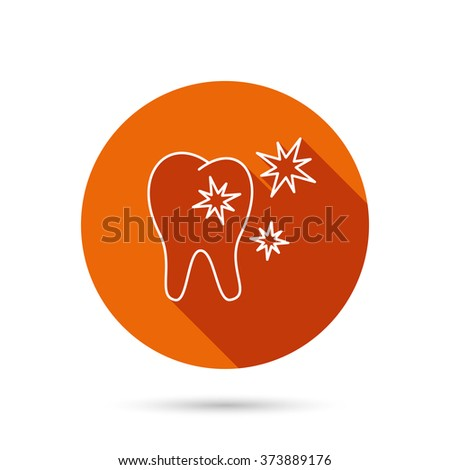Healthy tooth icon. Dental protection sign. Round orange web button with shadow. - stock vector