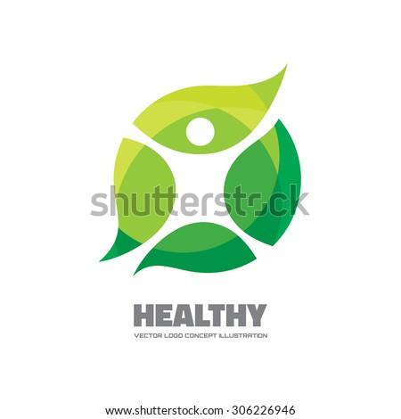 Healthy - vector logo sign concept illustration. Man figure on leafs. Vector logo template. Ecological and biological product concept sign. Ecology symbol. Human logo. Human character illustration. - stock vector