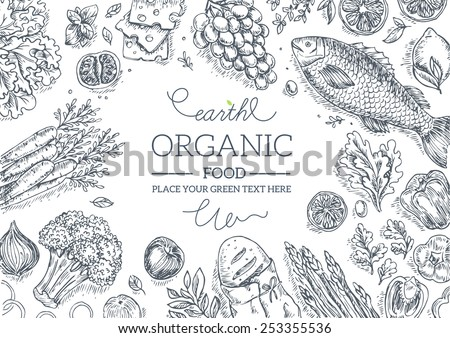 Healthy Vegetables Frame. Linear graphic. Vector illustration - stock vector