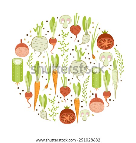 Healthy vegetables. Round design element on white background - stock vector