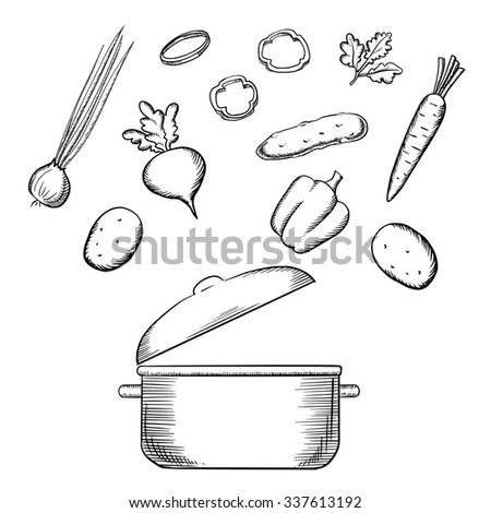 Healthy vegetarian salad cooking process with fresh carrot, potatoes, green onion, bell pepper, cucumber, beet vegetables and parsley over the cooking pot, for recipe or menu design. Sketch icons - stock vector
