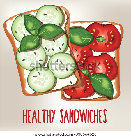 Healthy vegetarian Sandwich with cucumbers and tomatoes. Vector illustration - stock vector