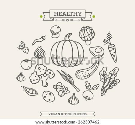 Healthy Veggie Illustration - stock vector