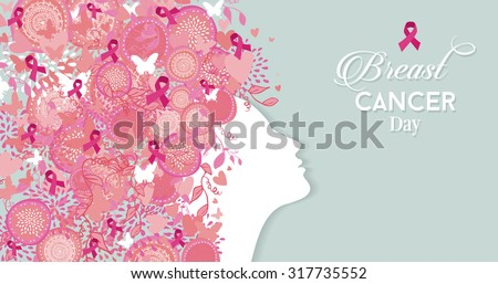 Healthy woman face profile silhouette with pink hair ribbon and nature symbols for breast cancer awareness day. EPS10 vector file. - stock vector