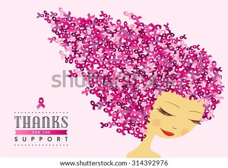 Healthy woman illustration design with pink ribbon hair for breast cancer awareness support campaign. EPS10 vector file. - stock vector