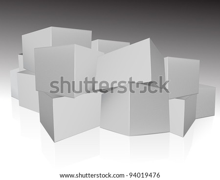 Heap of boxes - stock vector