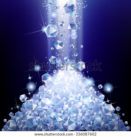 Heap of falling diamonds under blue light. Diamond pile. Vector illustration - stock vector