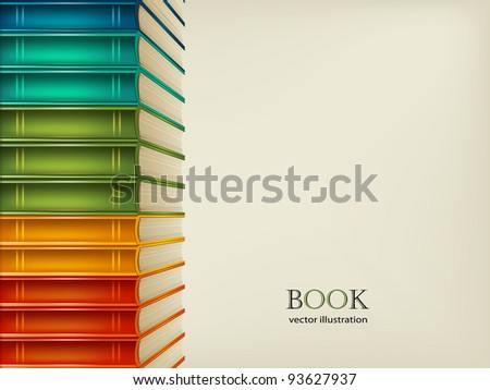 Heap of multi-coloured books isolated on beige background - stock vector