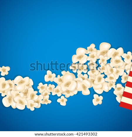 Heap popcorn for movie lies on blue background. Vector illustration for cinema design. Pop corn food pile isolated. Border and frame for film poster flyer. Delicious theater sweet or salted snack. - stock vector