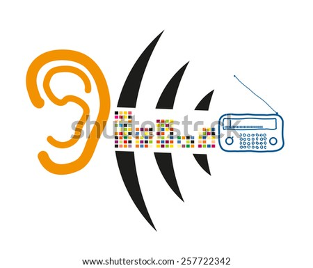 Hear the ear of the radio signal,in order to design radio waves - stock vector
