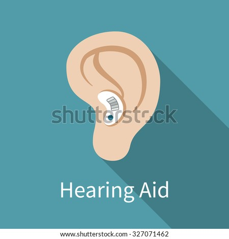 Hearing aid icon. Flat design, long shadow. Ear wearing deaf-aid. Could be used as illustration of deaf problem or hearing loss. Vector art, eps 10. - stock vector