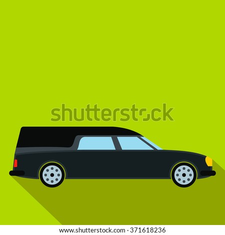 Hearse car flat icon. Black symbol with shadow isolated on a green background - stock vector