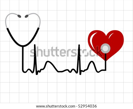 Heart and a medical stethoscope with heartbeat (pulse) symbol - stock vector