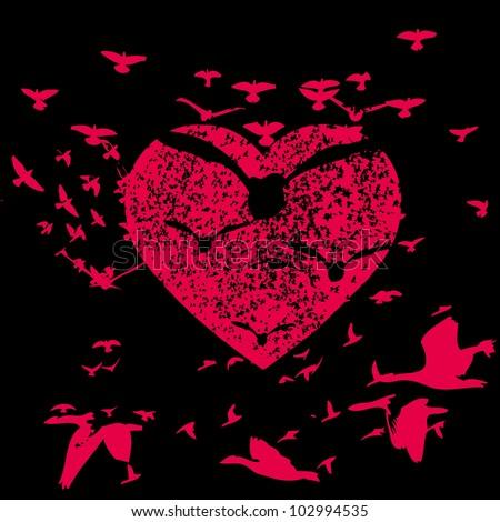 heart and birds