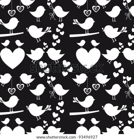 Heart and birds silhouettes on black  background, vector silhouette - stock vector