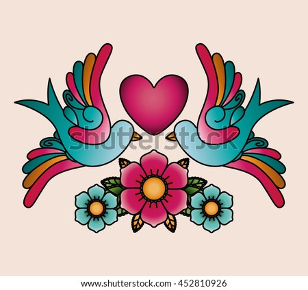 heart and birds tattoo isolated icon design, vector illustration  graphic  - stock vector