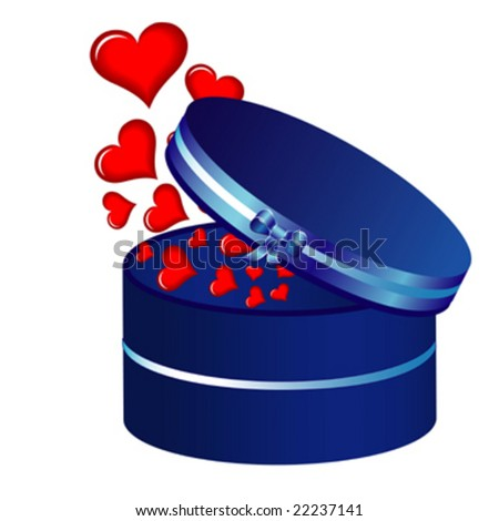 heart and blue box, background vector