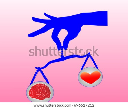 Heart and brain balancing on a scale by a hand. Logic and emotion balance, mindfulness concept illustration vector.