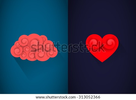 Heart and brain concept. Reason or heart - stock vector