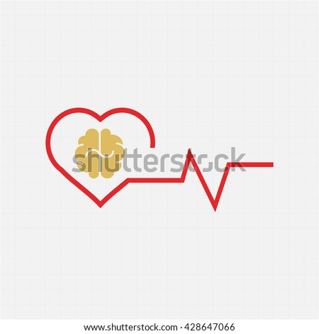 heart and brain concept stock vector  - stock vector