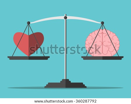 Heart and brain on scales. Balance, love, mind, intelligence, logic concept. Flat style. EPS 8 vector illustration, no transparency - stock vector