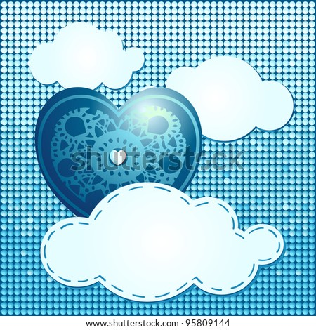 Heart and clouds, blue background. Vector illustration