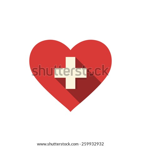 Heart and cross. Medical icon. - stock vector