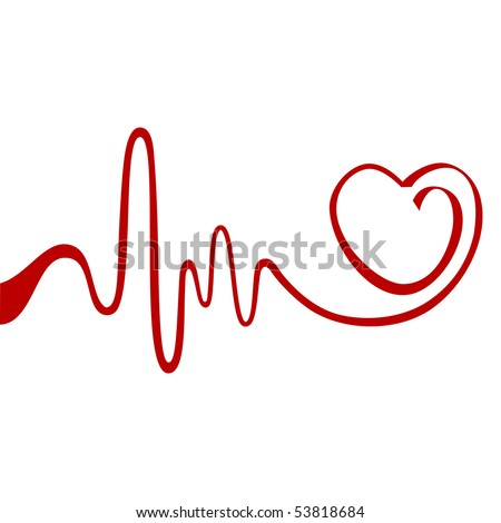 Heart and ecg from red ribbon - stock vector